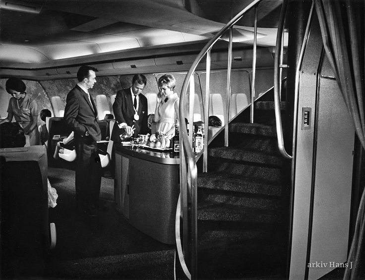 The staircase from first class leads up to the lounge