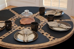 Black Wipeable Wedge-Shaped Placemat for Round Tables