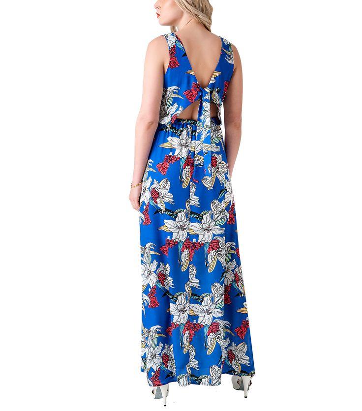 Mπλε μάξι φόρεμα (πίσω)
