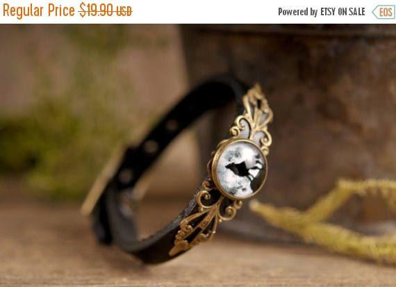 20% OFF Howling wolf bracelet, full moon bracelet, black leather bracelet, adjustable bracelet, antique brass bracelet, genuine leather brac