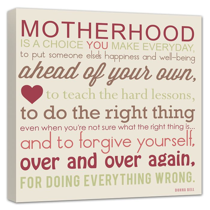 Motherhood Mother Daughter Quote Gift For Mom Parents Gift Wedding, Canvas  Art.