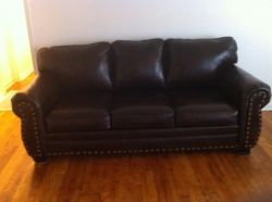 Brown Leather Studded Couches Set For SALE!!!! These couches are being sold as a set for $600 There are two couches a sofa & a love seat both couches are dark brown leather and are studded around the rim. These couches are practically new and are in great condition.. no rips or tears! Click to view more photos and to contact the seller. #fortbragg #sargeslist #veterans #army http://www.sargeslist.com/category/243/Furniture/listings/1594668/Brown-Leather-Studded-Couches-For-SALE!.html