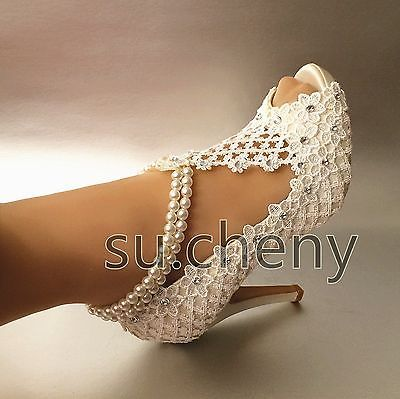 """3"""" 4"""" Salto de seda branco marfim renda aberto Toe Pérolas Tornozeleira sapatos casamento tamanho 5-11"""