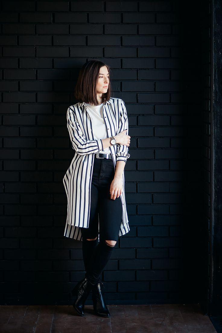 Outfit  образ: черные джинсы скинни и кожаные ботинки