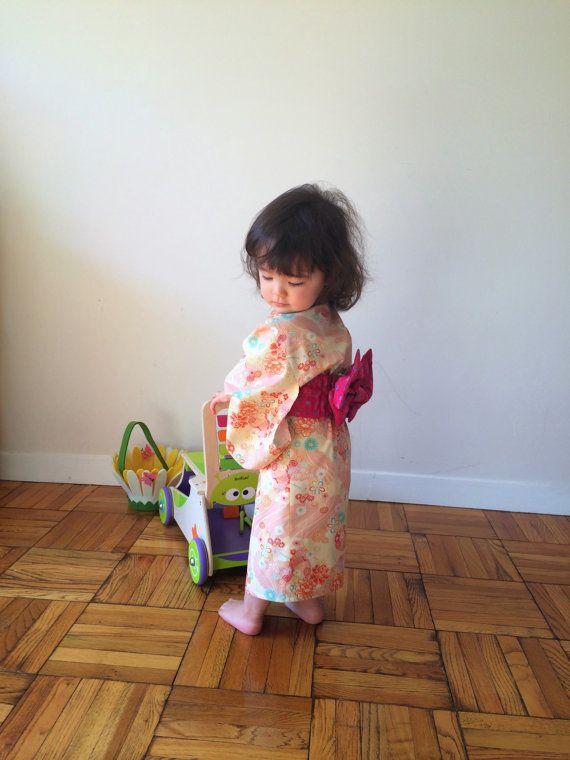 Yukata with Obi Sash for Girl Cotton Kimono Japanese by hukuhook