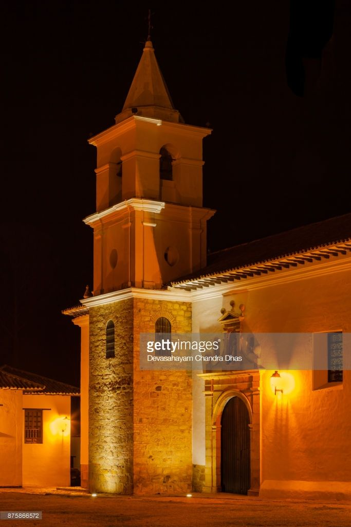 Stock Photo : Colombia, South America - Night Shot Of Steeple Of The Church, Iglesia del Carmen, Of The Carmelite Convent, In The 16th Century Town Of Villa de Leyva, In The Boyaca Department