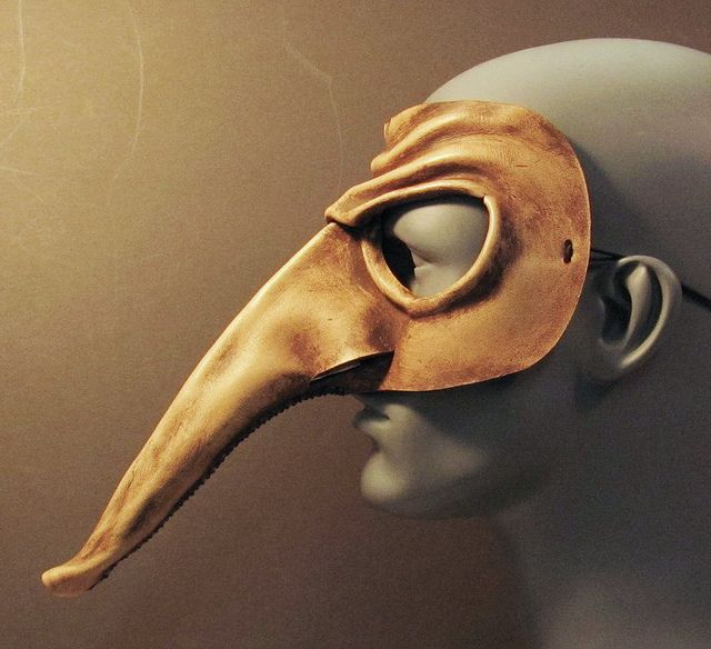 Zanni leather mask side view, via Flickr.