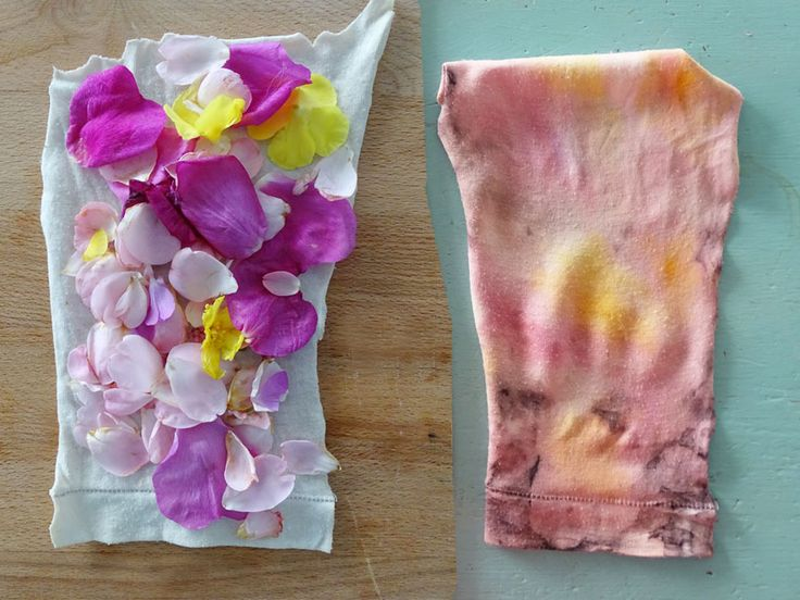natural dying rosenbottel en rozen blaadjes