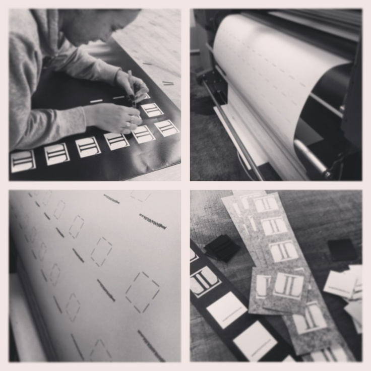 Hand cutting, weeding and sticking business cards, labour of love.