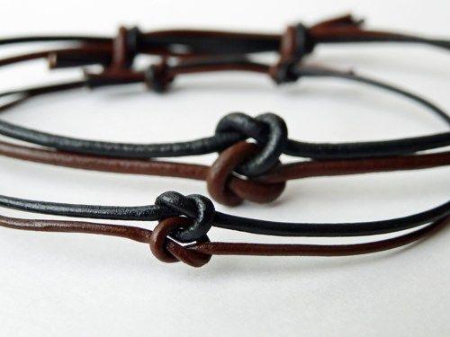 His and Hers love knot set - Leather - Adjustable - Celtic Infinity   TwilightEyesStudio - Jewelry on ArtFire