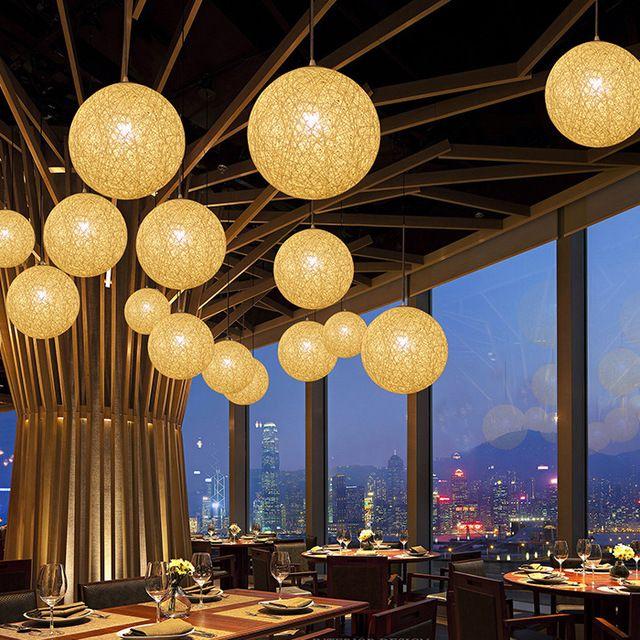 35 см страна просто современный ресторан, Пастырской падения света ротанга абажур, Ручной конопли мяч люстра
