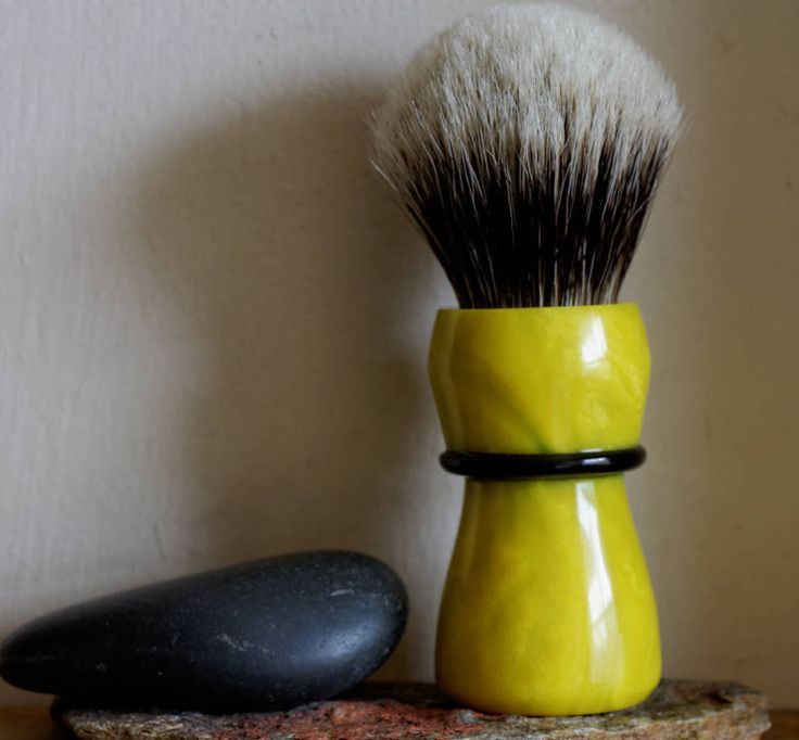 Shaving Brush - Hand-Made with Lemon Crush Resin Handle and a Choice of Knots by LoveYourShave on Etsy