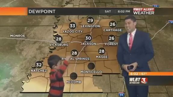 Bold kid crashes local weather report forecasting 'farts and toots'