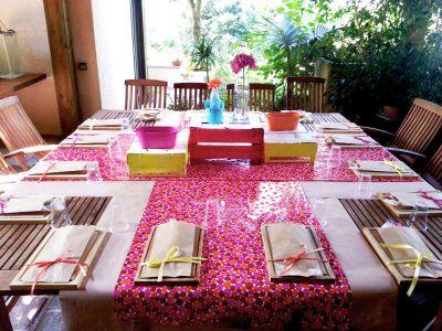 #tavola #fluo #centrotavola #centerpiece #pink #fucsia #yellow #giallo #arancione #orange #turchese #tourquoise #tableset #barbecue #party #festa