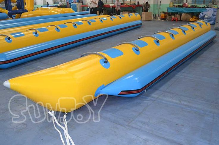 8 Person inflatable banana boat for sale,  7.5 meters long, yellow and blue colors.
