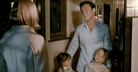 That would be unbelievably irresponsible parenting, and the movie makes it pretty clear that Jude Law puts his daughters' well-being first. (Yes, he introduces Cameron Diaz to them too quickly, but that's mostly her fault for showing up uninvited.)