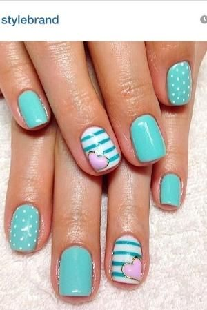 Gel nails #nailart #turquoise by AuBugsMommy14
