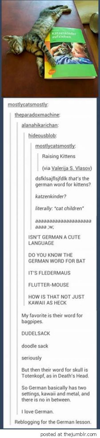 German has two settings  Kawaii and Metal