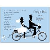 Bike Ride Couple Blue Wedding Wedding Invitation Card