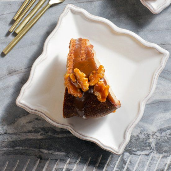 Cinnamon Swirl Bundt Cake with Salted Coffee-Caramel Sauce | Recipe
