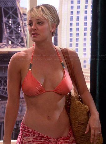 Penny's orange bikini top and studded straw tote on The Big Bang Theory.  Outfit Details: http://wornontv.net/38271/ #TheBigBangTheory / Peach Triangle Bikini by Vix Swimwear