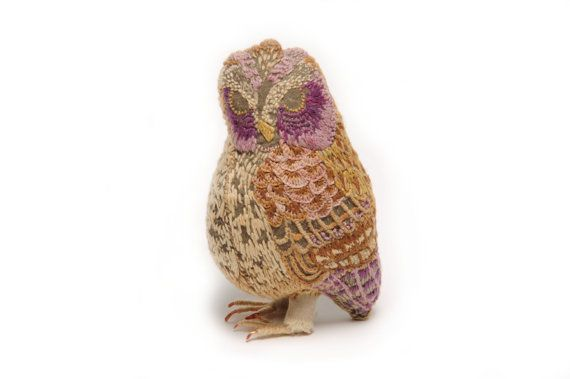 A lovingly hand-embroidered limited collection bird made with organic cotton, naturally dyed lambswool yarn and copper wire. Height 13cm    This