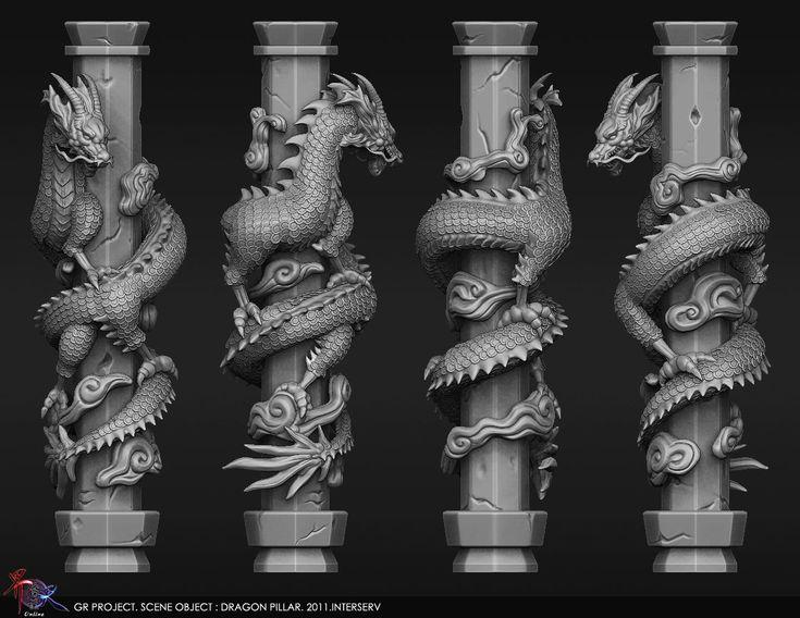 Chinese Dragon Pillar, Eva Yu on ArtStation at http://www.artstation.com/artwork/chinese-dragon-pillar