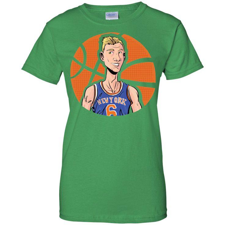 Kristaps Airzingis Porzingis KP6 T-shirt Jersey, New York Knicks, NBA NYK-01 Ladies Custom 100% Cotton T-Shirt