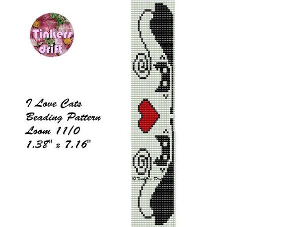 I Love Cats Loom Beaded Bracelet Pattern от TinkersDrift на Etsy