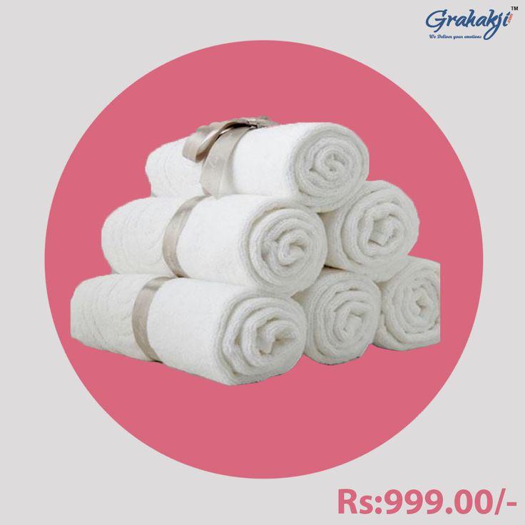 SET OF 6 LARGE SIZE WHITE COTTON TOWELS #Cotton #towels #online #shopping #clothing #homefurnishing #napkins #grahakji