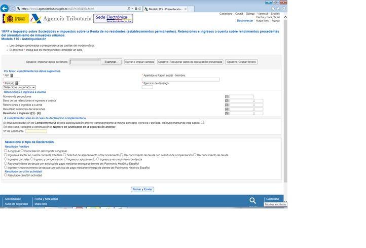 Presentación y pago modelo 115 en la web de la AEAT para realizar tu mismo la…