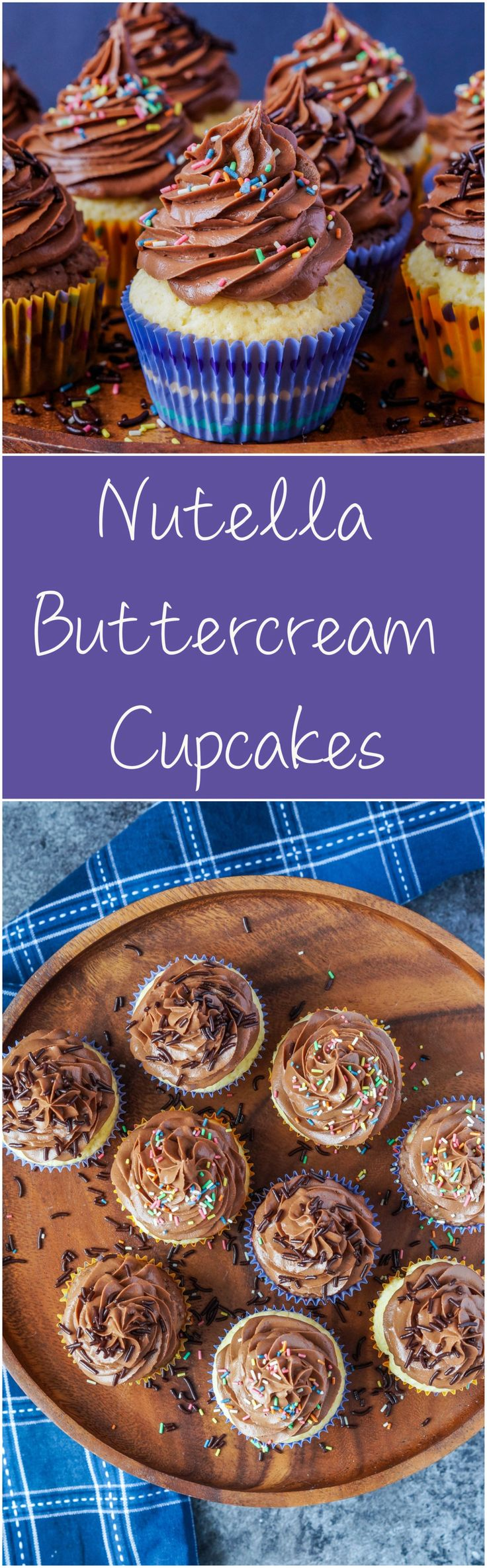 Nutella Buttercream Cupcakes  #nutella #chocolate #cake #cupcake #buttercream #frosting #recipe #sprinkles #dessert