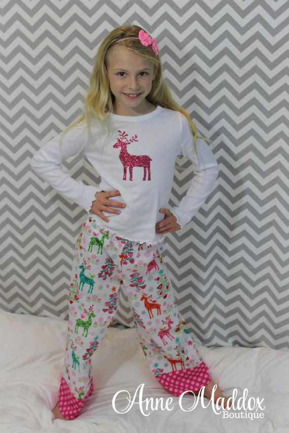 Glitter Reindeer Christmas Pajamas Girls by AnneMaddoxBoutique