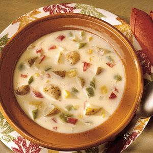 Super easy!  This colorful potato soup is a bit on the spicy side. If you prefer a milder flavor, reduce the ground red pepper to a dash.