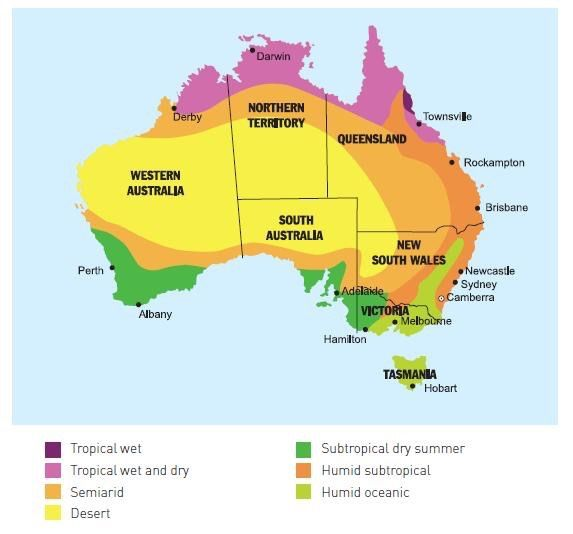 Climate zones of Australia. Related: Climate analogues in the world