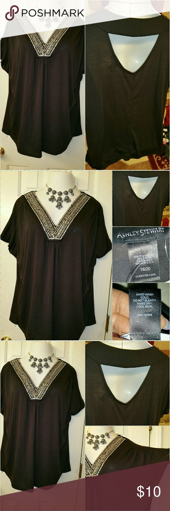 SOLD Ashley Stewart women plus size embellished top. This top is so cute  it has semi open back  and a  embellished V-neck  with gold and silver jewels. In addition,  I bought this top from an outlet retail store named factors connect, also if you take a look at the Jewels on the V-neck,  their are a few missing, which was bought like this..other than that it has fashionable bat sleeve, and overall it a very nice top. Size 18/20 Ashley Stewart  Tops Tunics