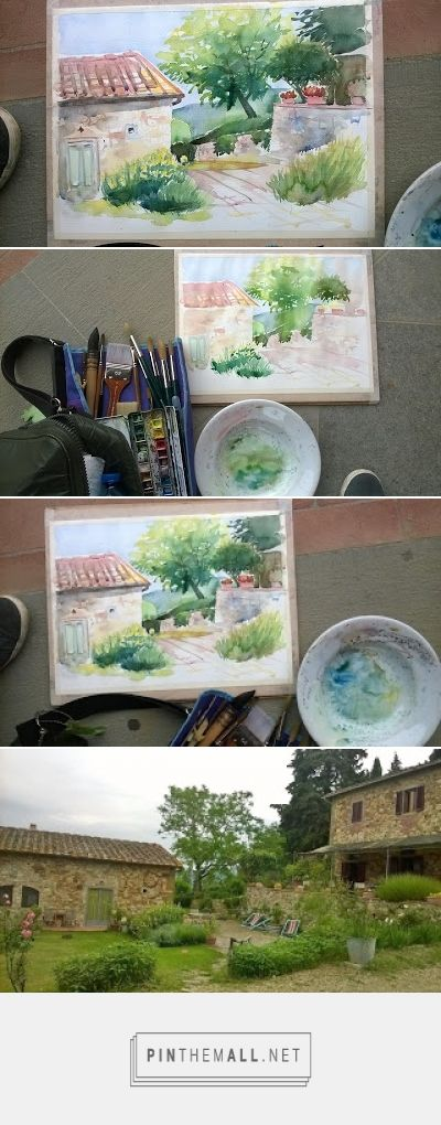 PAINTING IN TUSCANY -  Beautifu Tuscan farmhouse, B&B Ancora del Chianti. This is how I paint  -watch more easy painting painting tutorials on my blog! - created via https://pinthemall.net