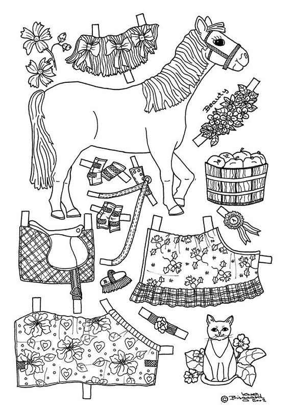 beauty pony paper doll coloring page