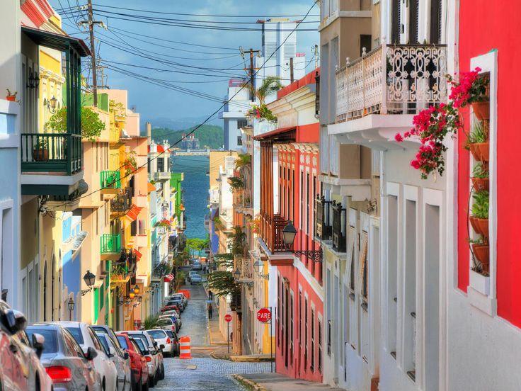 San Juan San Juan, Caribbean color road Town neighbourhood street way urban area City human settlement alley infrastructure facade shopping sidewalk