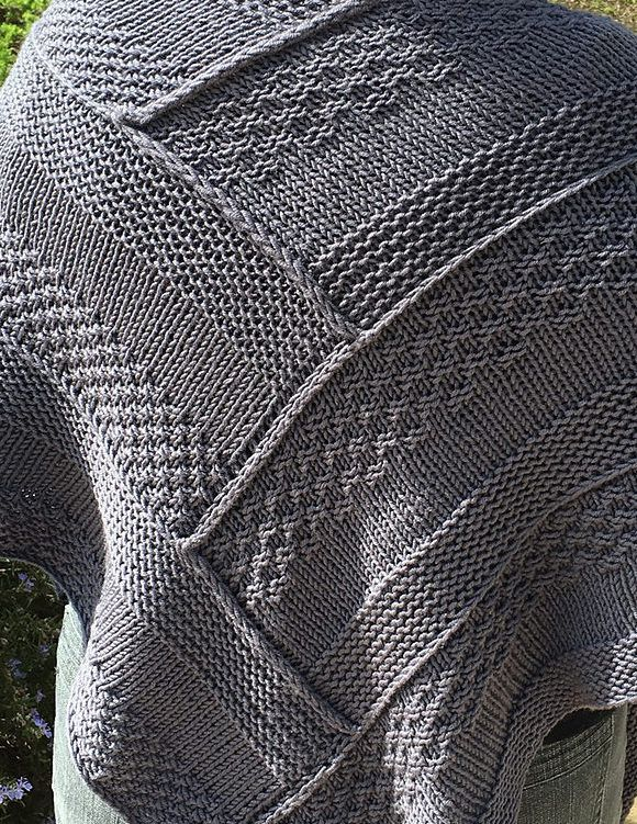 Free Knitting Pattern for Log Cabin Shawl - The amazing Nora Gaughan's shawl design was inspired by traditional quilt patterns. Though it may look as though the pieces are sewn together, this shawl is worked seamlessly by picking up stitches. Pattern and instructional video class available for free with a free trial at Creativebug. Pictured project by JoanneCarol
