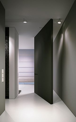 Stunning minimal pivot door, project in Poland by Arch 515 design _ For more inspiration visit http://pinterest.com/ambikakaul/boards/