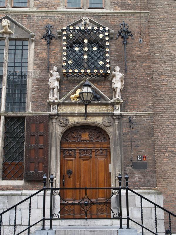 Nijmegen, Netherlands: Stadhuis (Burchstraat 20): door (originally 1555, restored 1880, almost completely destroyed in WWII, rebuilt 1951-1954)