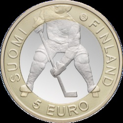 For ice hockey fans, Finland is minting this 5 euro bimetallic coin in 2012.