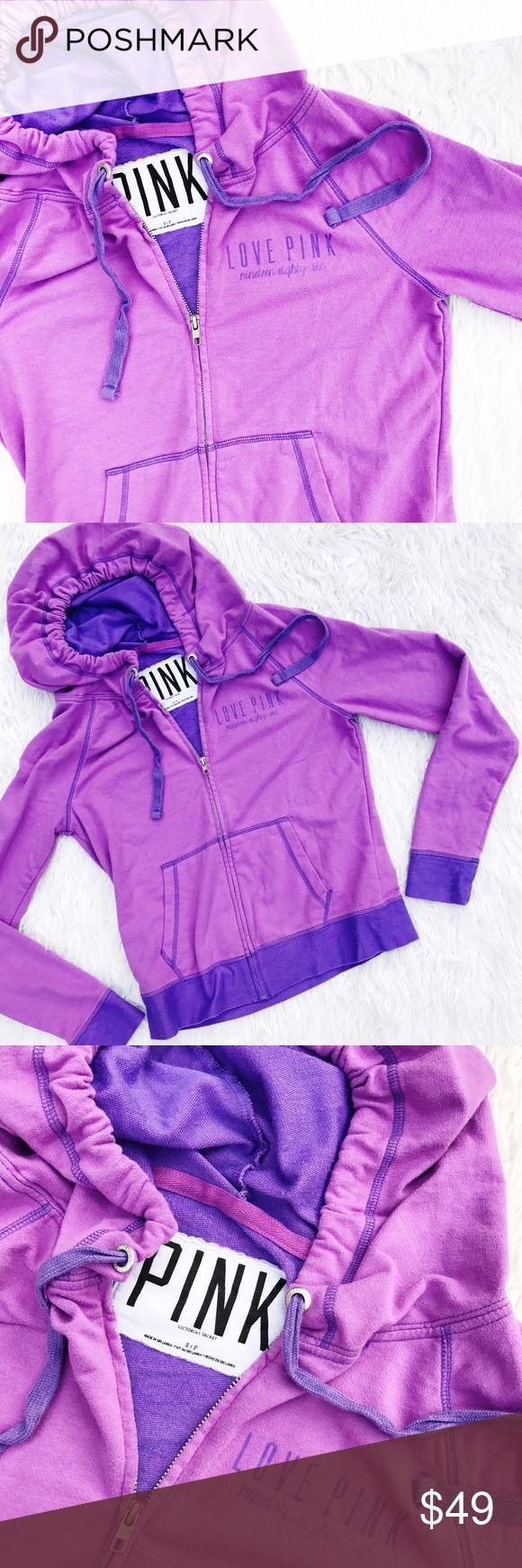 • PINK • Purple Hoodie Good condition! Offers welcome. PINK Victoria's Secret Sweaters