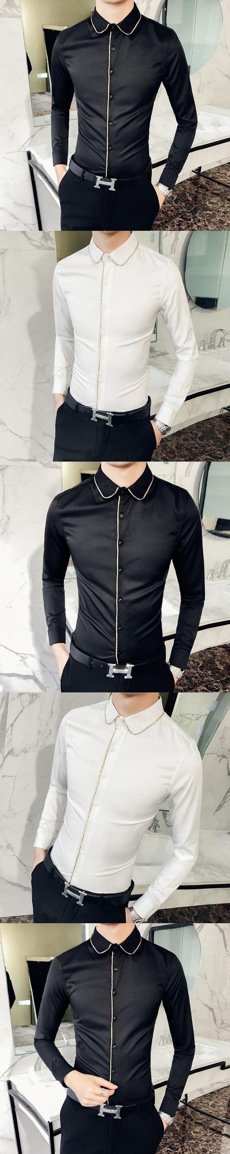 2018 Dress Shirts Mens Slim Fit Shirts Long Sleeve White Mens Retro Shirts Silk Vestido Xadrez Camicia Smoking Korean Fashion