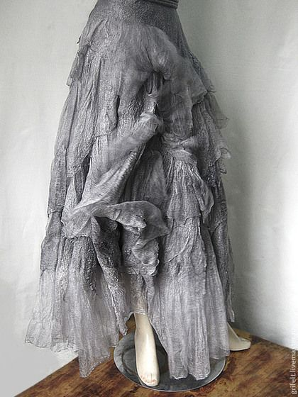 """Skirt handmade felted, semi-sun, Boho style felted """"Royal"""" ,wrapped, tie strings, dimensionless. Knotted laced through eyelets. Natural gas is the author silk painting 36 meters in Italian Merino. Shining fibers provide fascinating glimpses, especially in the sun."""
