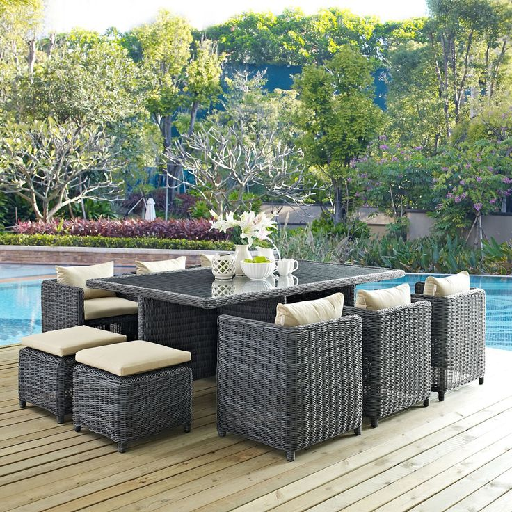 modway summon 11 piece wicker patio dining set from