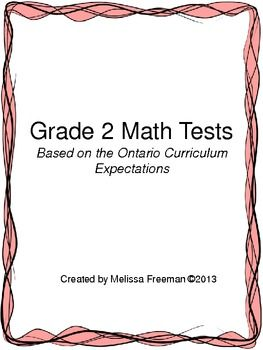 Grade 2 Math Tests Package (Based on the Ontario Curriculum)