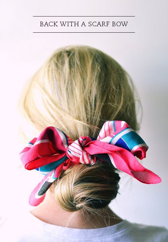 use a scarf to mask a bad hair day. it adds color to your outfit and looks great with just a white tee.