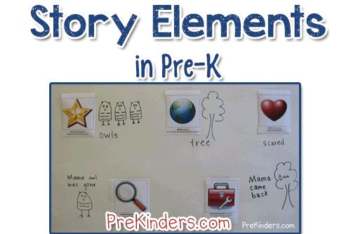 Discussing story elements is a great way to encourage discussion and build new vocabulary in Pre-K. Using pictorial symbols makes it easier for young children to learn the elements of a story. There's a neat printable on the Georgia Pre-K website for teaching this to Pre-K children.